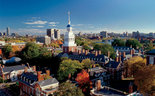 The university campus, in Cambridge, Massachusetts, with Lowell House, center, and the Charles River beyond. Not pictured: the looming $220 million budget deficit at the Faculty of Arts and Sciences, Harvard's largest division (Steve Dunwell/Getty Images).