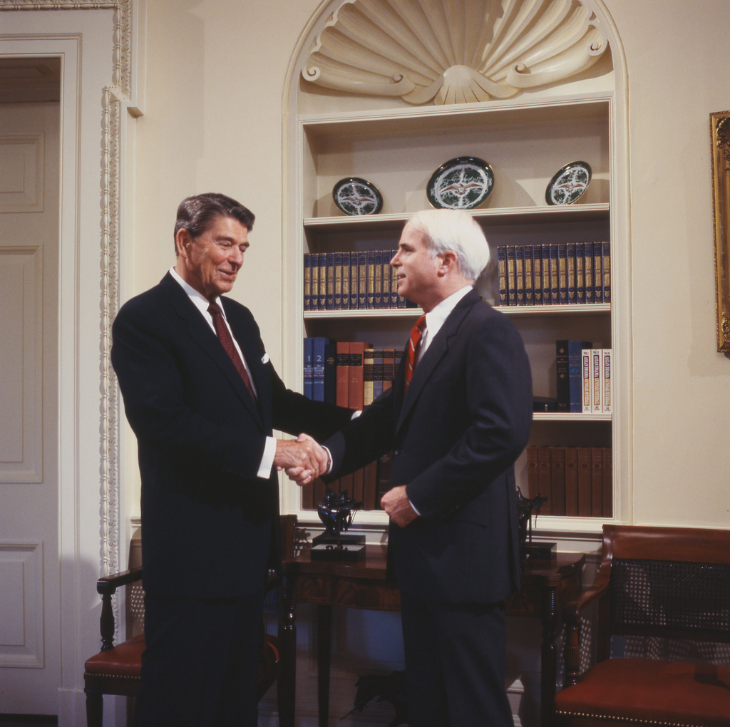 Ronald Reagan Shaking Hands With John McCain